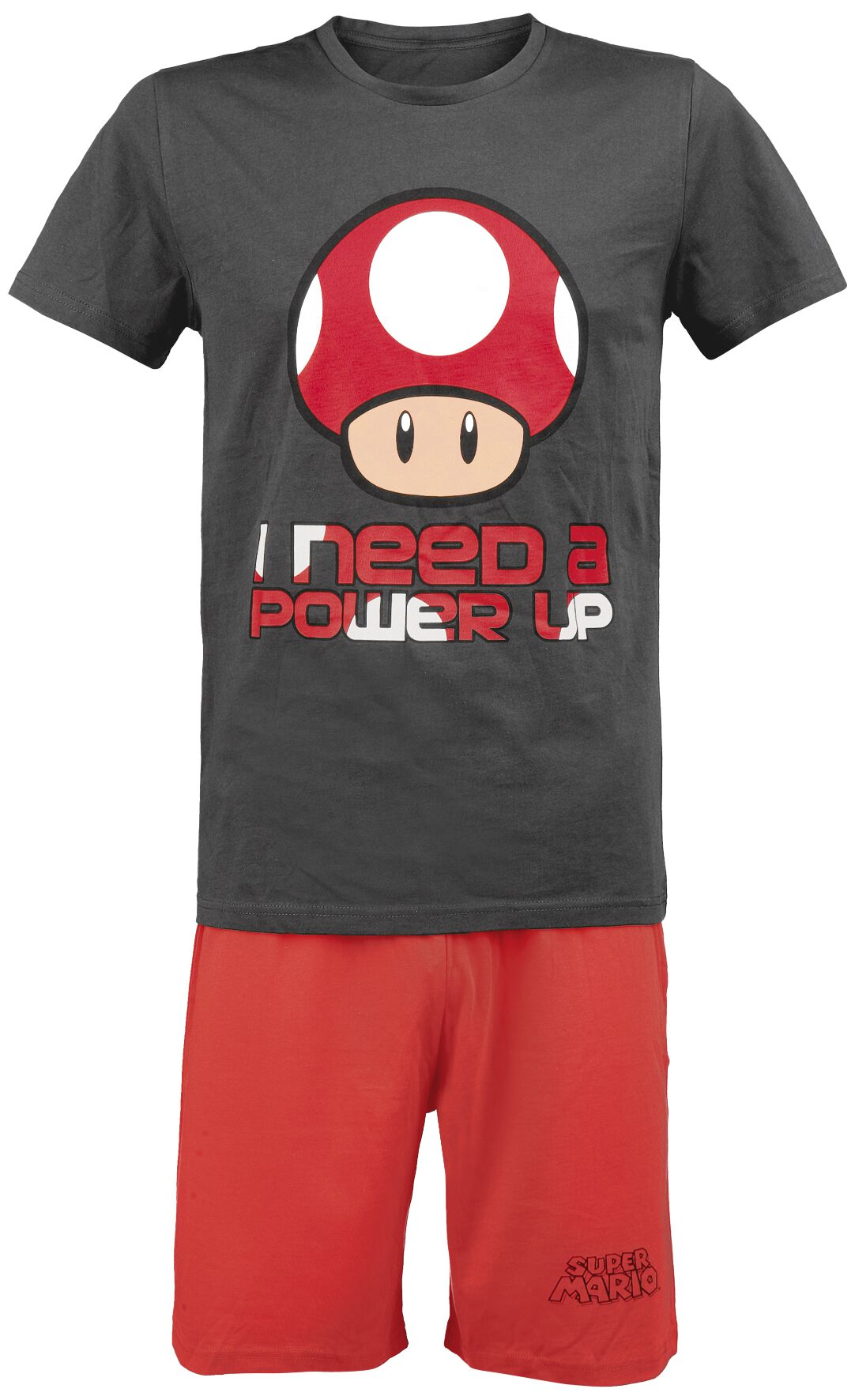 Image of   Super Mario I Need A Power Up Pyjamas grå-rød