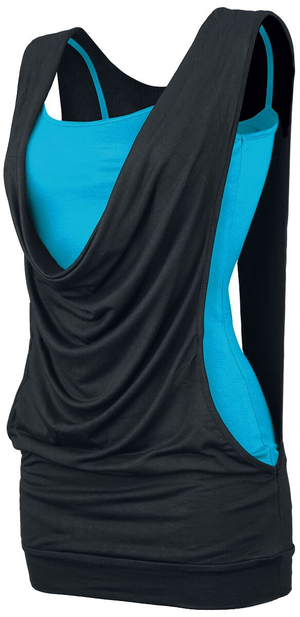 Image of   Forplay Open Double Layer Girlie top sort-turkis