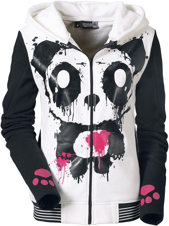 Killer Panda Mase Hood Bluza z kapturem rozpinana damska biały/czarny