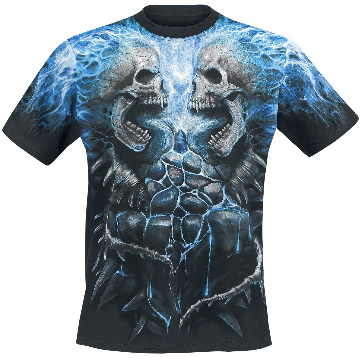 Image of   Spiral Flaming Spine T-Shirt sort