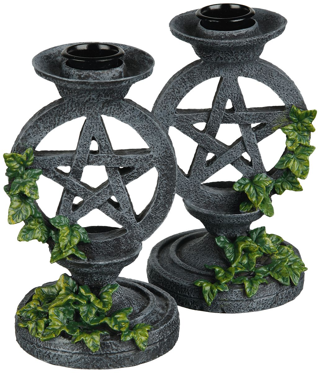 Image of   Nemesis Now Aged Pentagram Candlesticks Lysestage grå-grøn