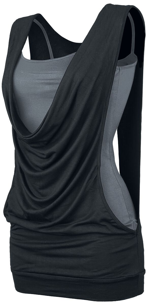 Image of   Forplay Open Double Layer Girlie top sort-grå