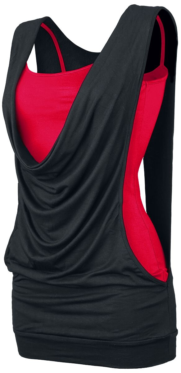 Image of   Forplay Open Double Layer Girlie top sort-rød