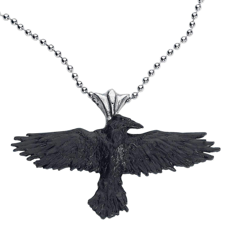 Alchemy Gothic Black Raven Halskette schwarz P193