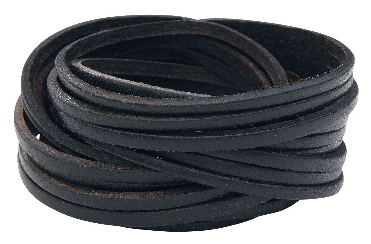 Basics - Bransoletki - Bransoletka skórzana Big Cutted Leather Bracelet Bransoletka skórzana czarny - 261290