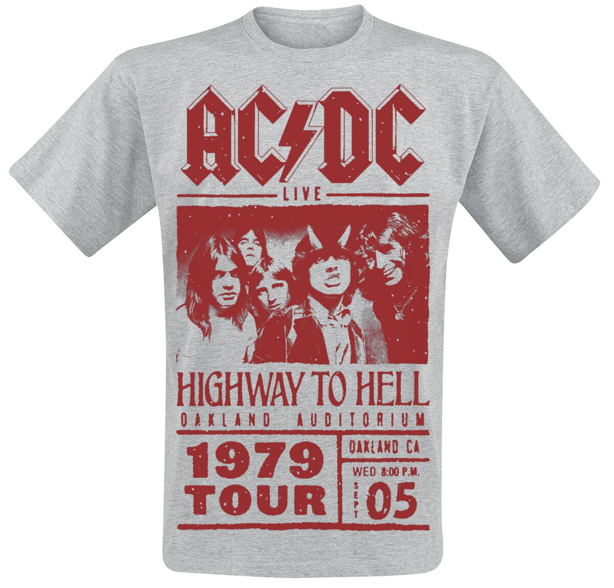 Image of   AC/DC Highway To Hell - Red Photo - 1979 Tour T-Shirt grålig