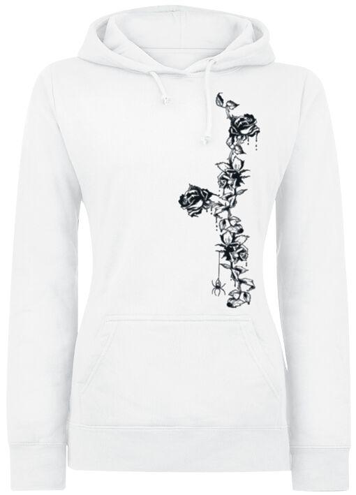 Motyw - Bluzy z kapturem - Bluza z kapturem damska Black Tendril Rose Bluza z kapturem damska biały - 264048