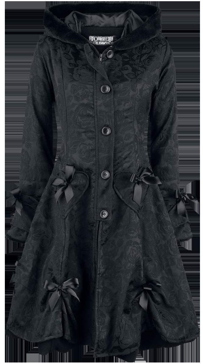 Poizen Industries Alice Rose Coat Płaszcz damski czarny