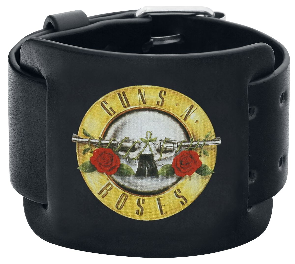 Image of   Guns N' Roses Bullet Logo Læderarmbånd sort
