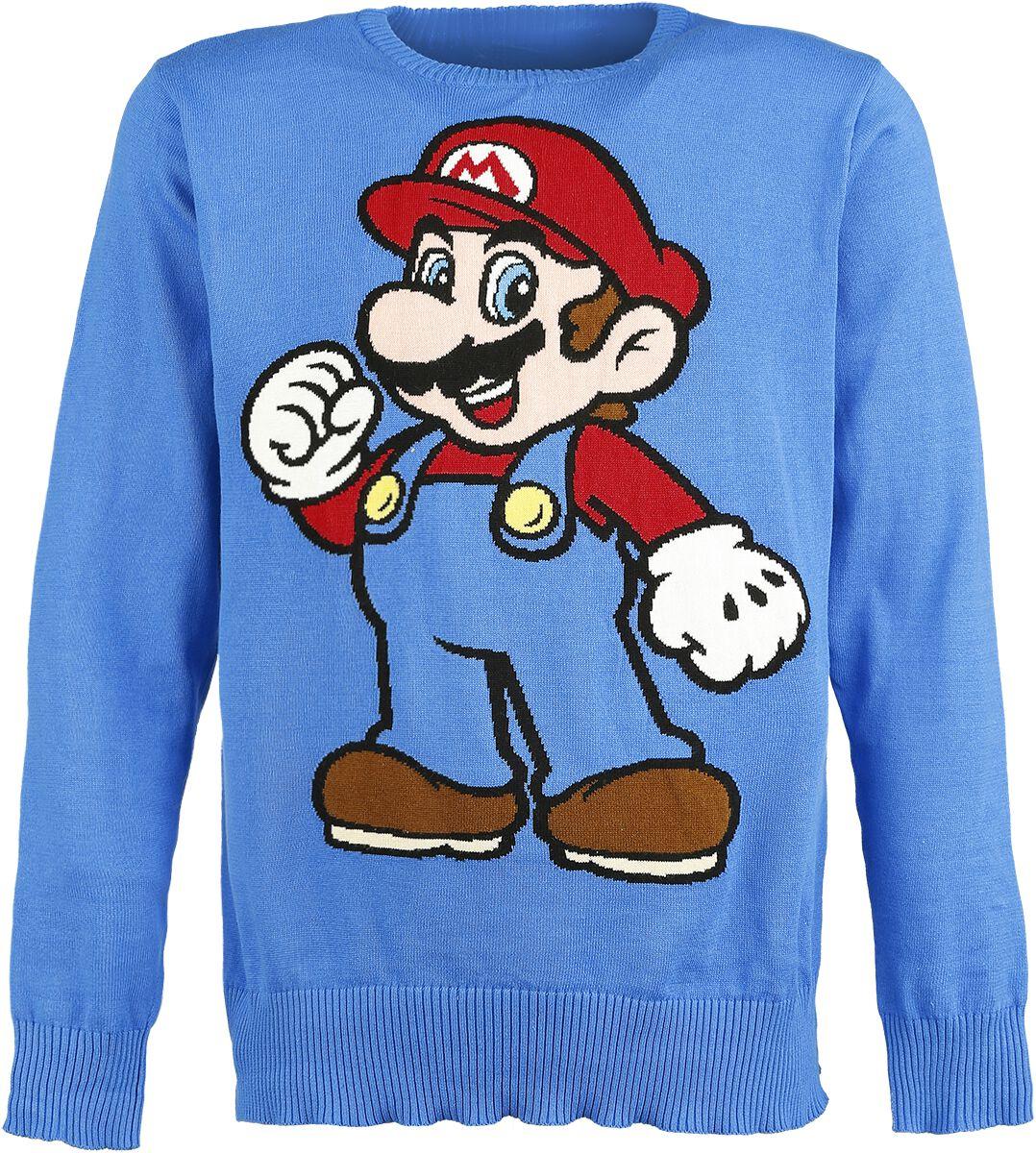 Image of   Super Mario Mario Strikketrøje blå