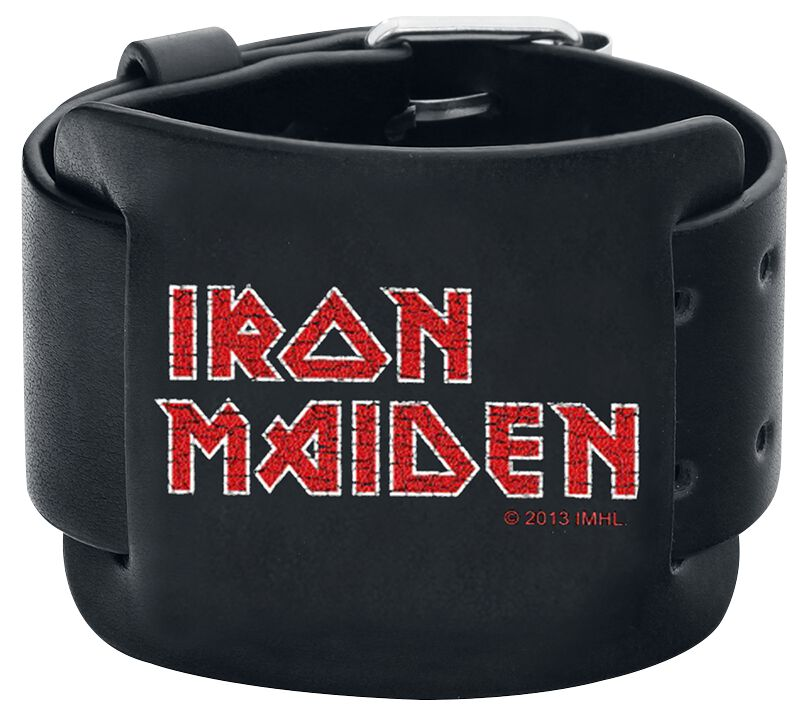 Image of   Iron Maiden Logo Læderarmbånd sort
