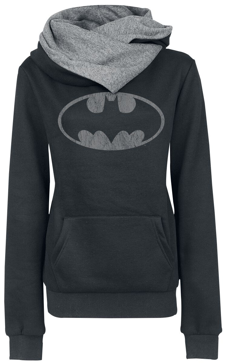 Image of   Batman Logo Girlie hættetrøje sort-grå