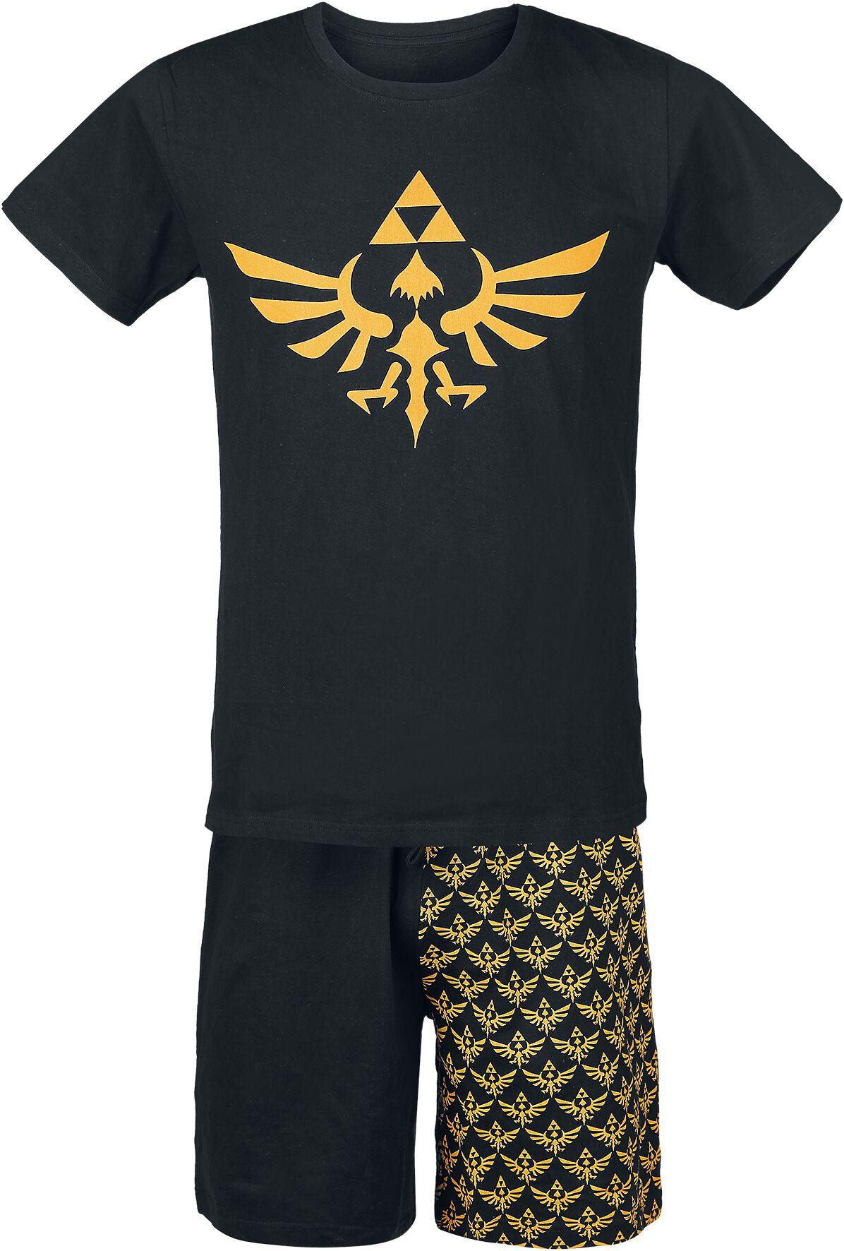 Image of   The Legend Of Zelda Triforce Pyjamas sort-gul