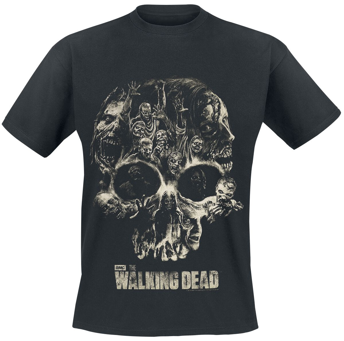 Image of   The Walking Dead Skull T-Shirt sort