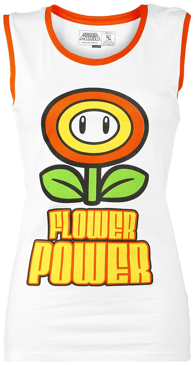 Image of   Super Mario Flower Power Girlie top hvid