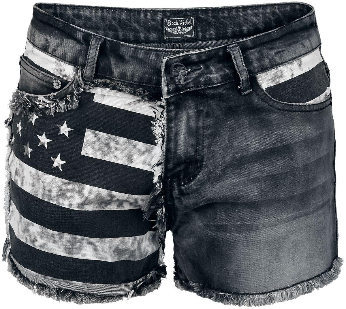 Image of   Rock Rebel by EMP Flag Hotpants Girlie hotpants sort