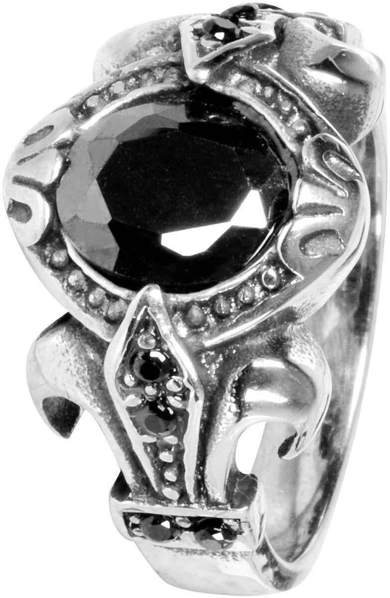 Ringe für Frauen - Wildcat Round Black Stone Ring Standard  - Onlineshop EMP