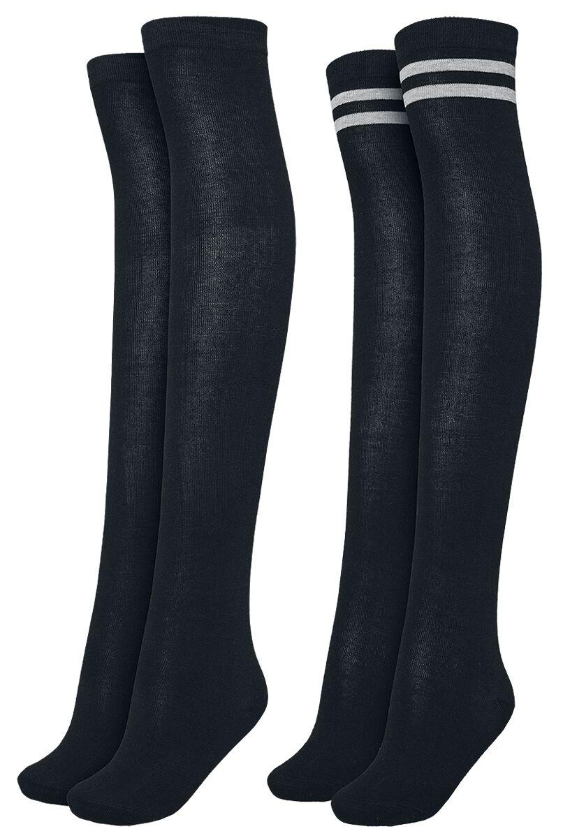 Socken für Frauen - Urban Classics Ladies Overknee Socks 2 Pack Overknees schwarz schwarz grau  - Onlineshop EMP