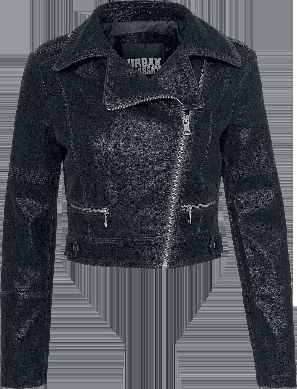 Urban Classics Ladies Short Biker Jacket Kurtka z ekoskóry damska czarny