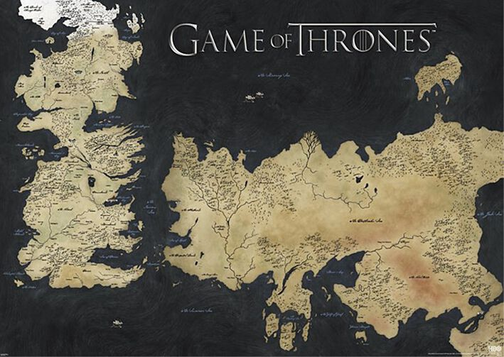 Game Of Thrones Map - Westeros & Essos Giant-Po...