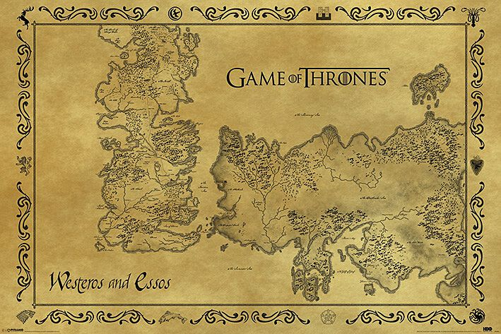 Image of   Game Of Thrones Antikt kort Plakat multifarvet