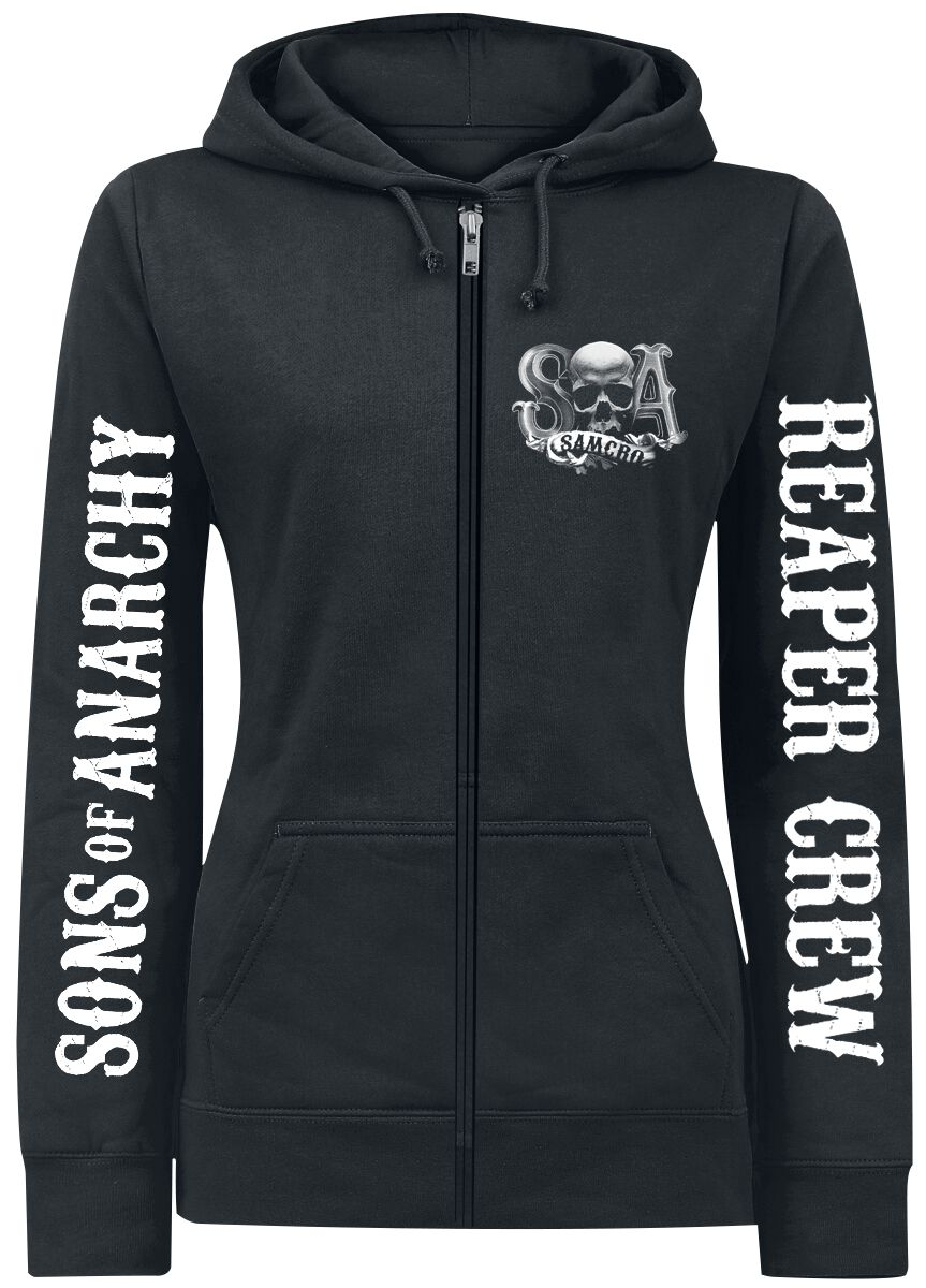 Merch dla Fanów - Bluzy z kapturem - Bluza z kapturem rozpinana damska Sons Of Anarchy Reaper Crew Bluza z kapturem rozpinana damska czarny - 286264