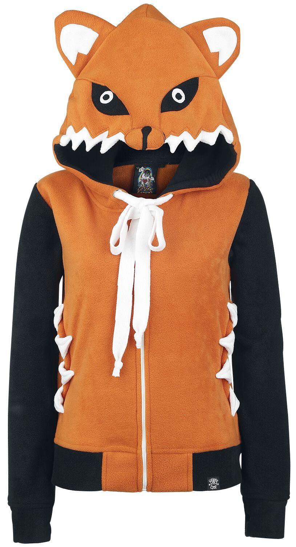 Marki - Bluzy z kapturem - Bluza z kapturem rozpinana damska Cupcake Cult Foxy Hood Bluza z kapturem rozpinana damska pomarańczowy/czarny - 288747