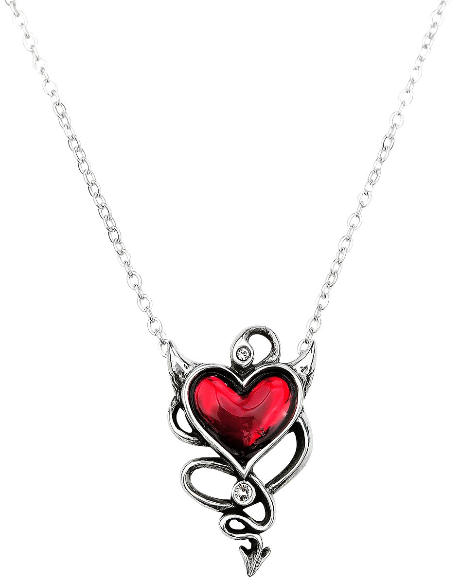 Image of   Alchemy Gothic Devil Heart Halskæde sølvfarvet