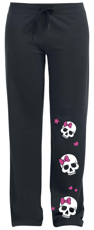 Fashion und Style Skully Spodnie dresowe damskie czarny