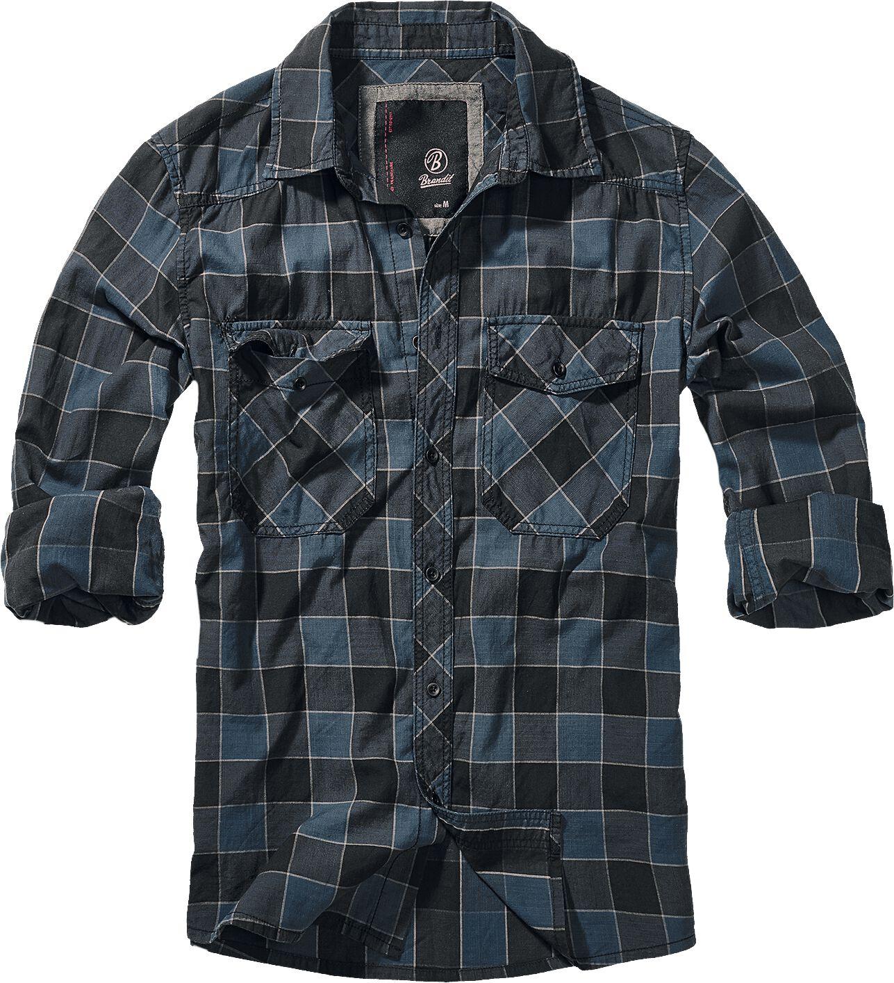 Image of   Brandit Checkshirt Skjorte blå-grå-sort