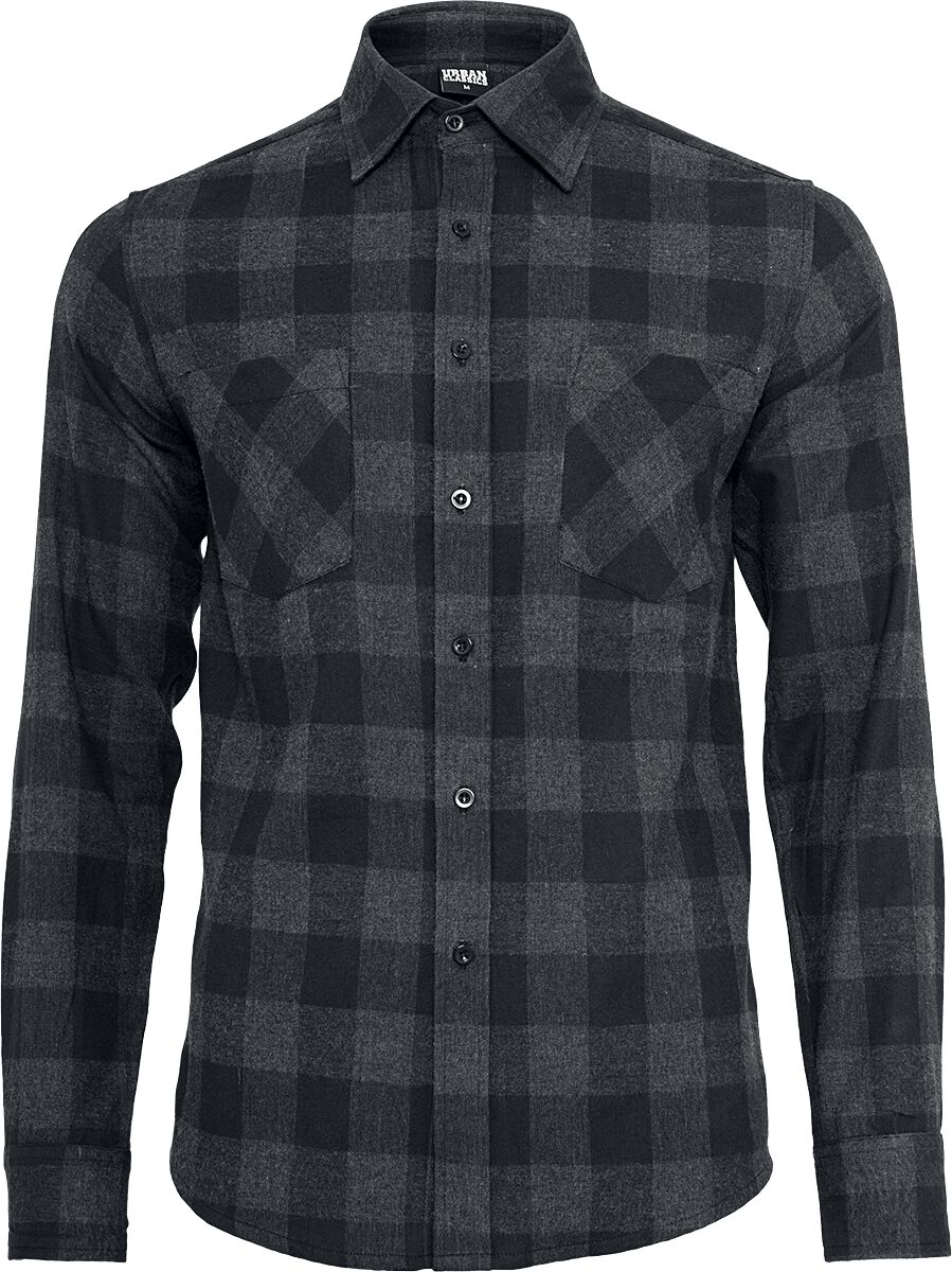 Image of   Urban Classics Checked Flannel Shirt Skjorte sort-grå