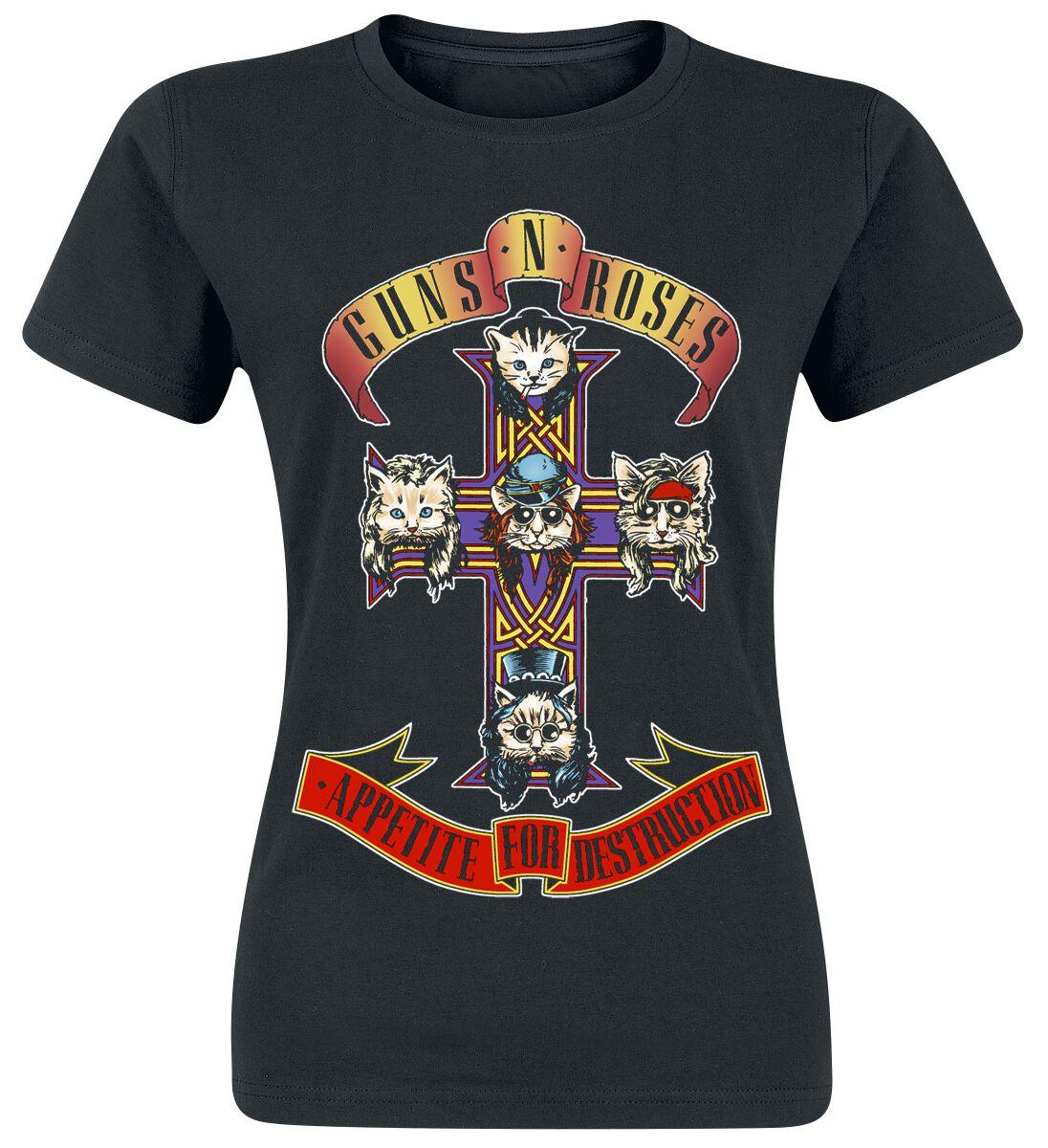 Image of   Guns N' Roses Appetite For Destruction - Kitty Cross Girlie trøje sort