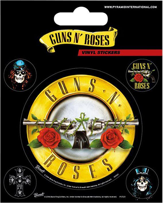 Image of   Guns N' Roses Bullet Logo Stickersæt multifarvet