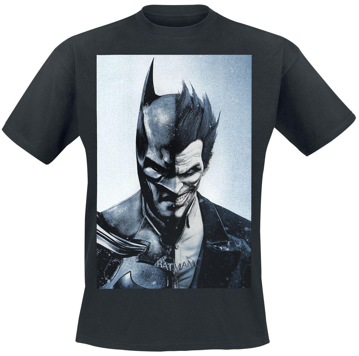 Image of   Batman Arkham Knight - Half Batman/Half Joker T-Shirt sort