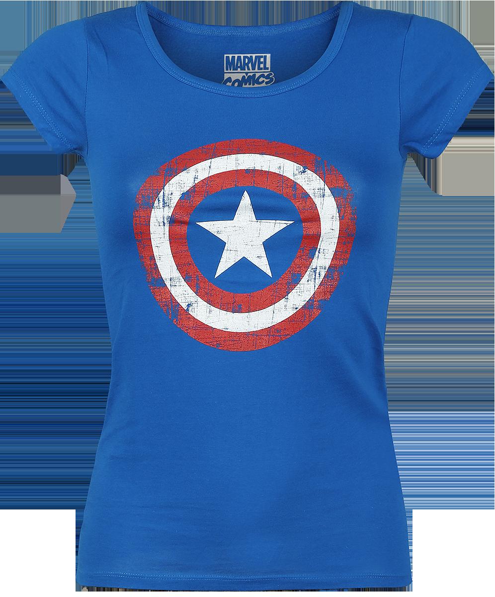 Captain America Cracked Shield Koszulka damska niebieski