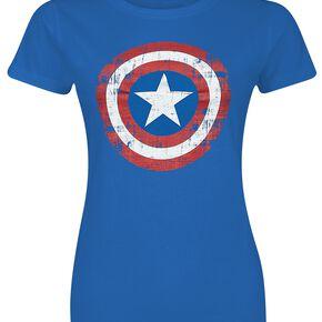 Captain America Bouclier Délavé T-shirt Femme bleu