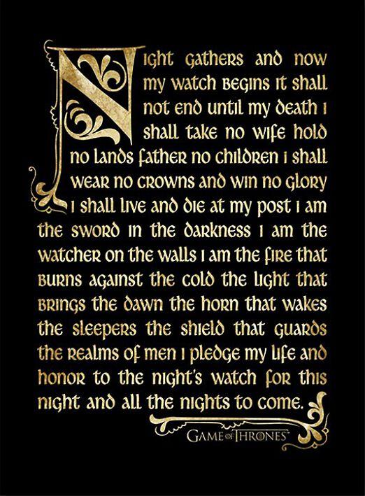 Image of   Game Of Thrones Nightwatch Oath Indrammet billede multifarvet