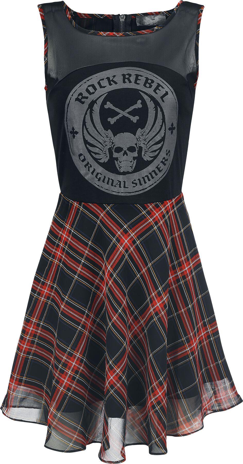 Image of   Rock Rebel by EMP Checked Skater Dress Kjole sort
