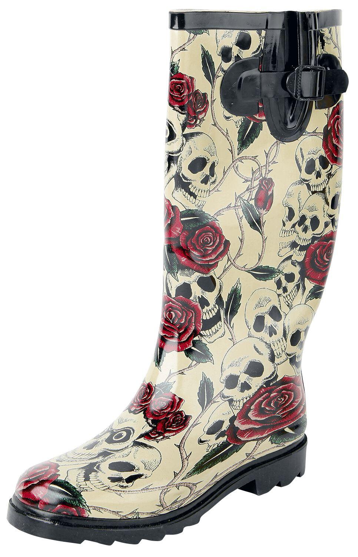 Marki - Buty - Gumowce Alcatraz Skull & Roses Gumowce beżowy - 297859
