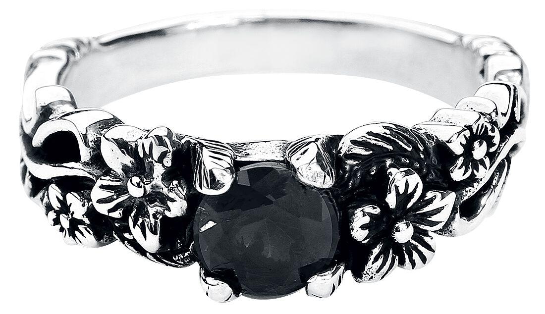 Ringe für Frauen - Black Flower Ring schwarz  - Onlineshop EMP