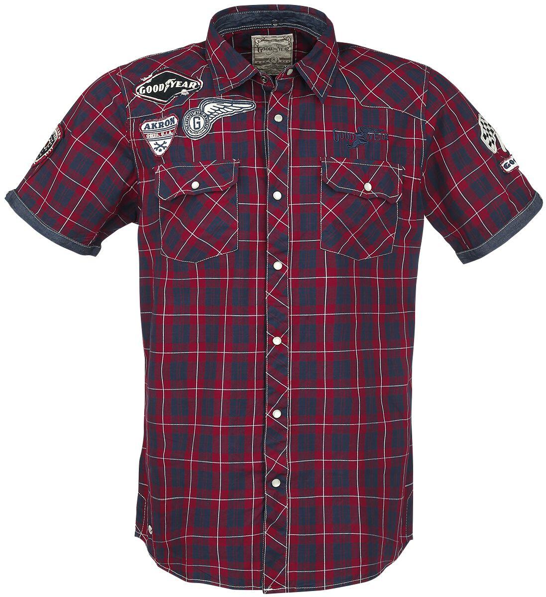 Marki - Koszule z krótkim rękawem - Workershirt GoodYear Oklahoma Workershirt czerwony/granatowy - 298223