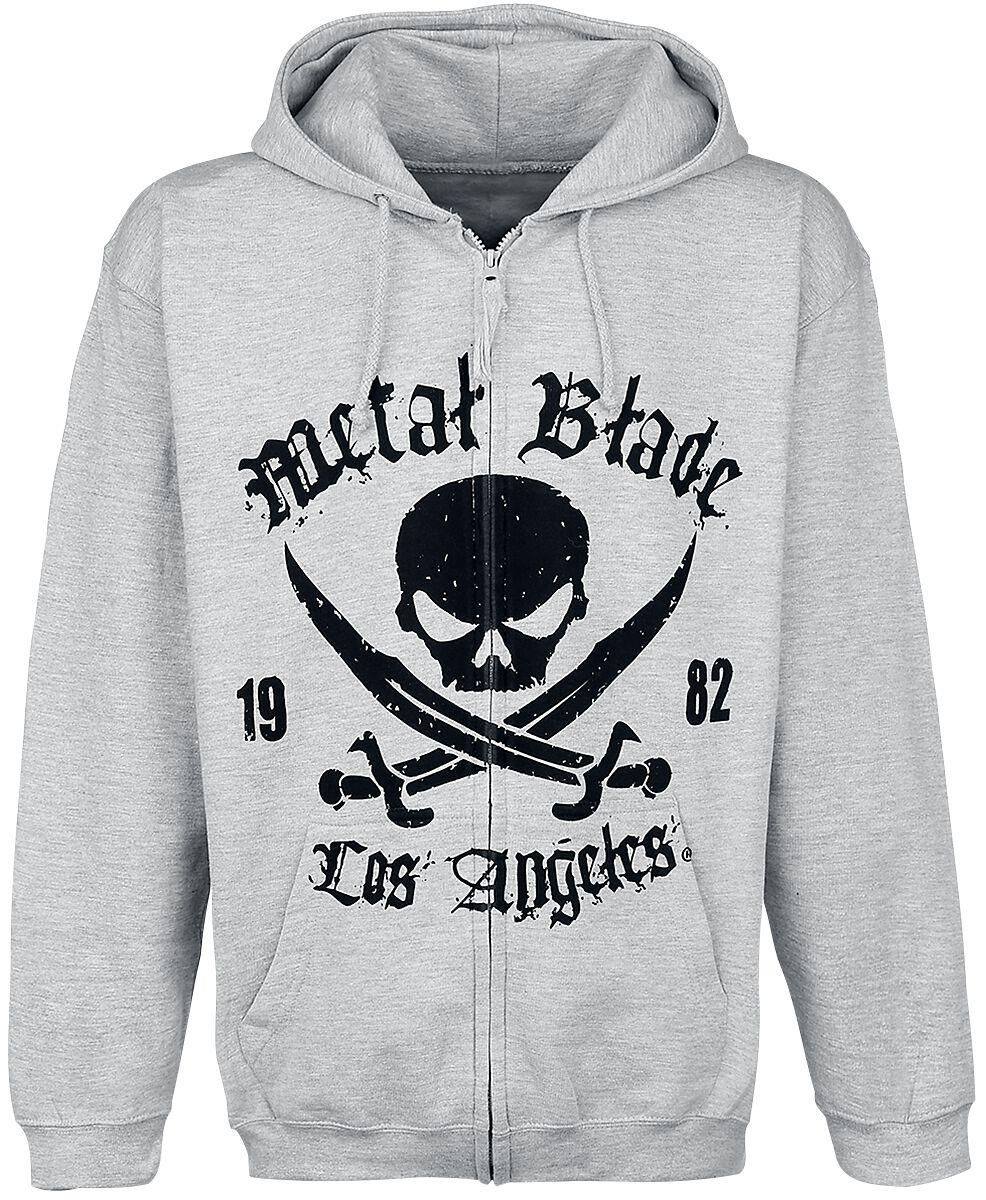 Merch dla Fanów - Bluzy z kapturem - Bluza z kapturem rozpinana Metal Blade Pirate Logo Bluza z kapturem rozpinana szary - 298368
