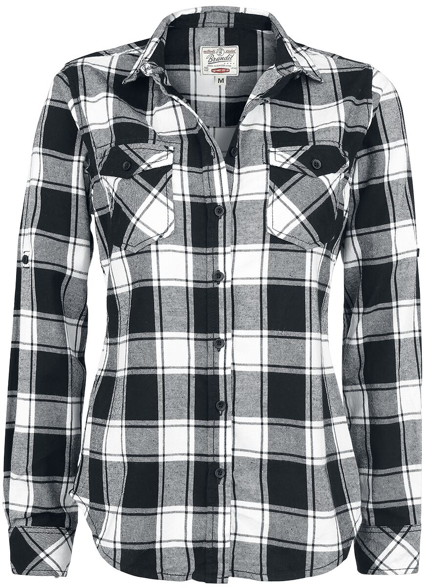 Image of   Brandit Amy Flannel Checkshirt Girlie Skjorte sort-hvid