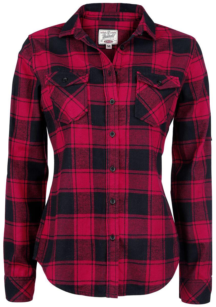 Image of   Brandit Amy Flannel Checkshirt Girlie Skjorte sort-rød