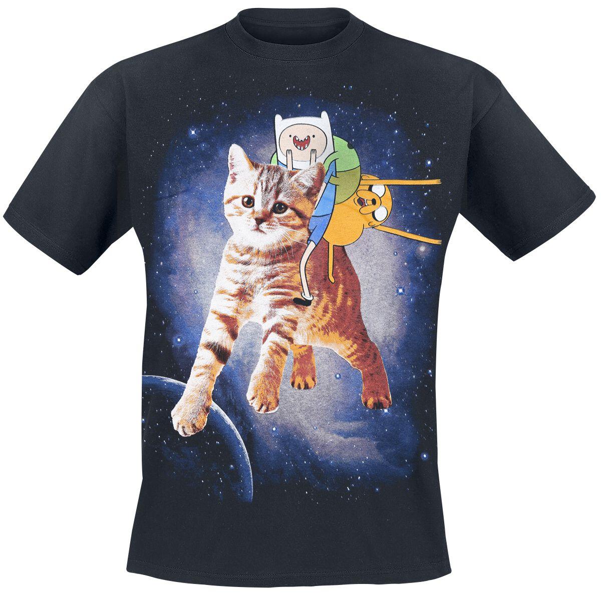 Merch dla Fanów - Koszulki - T-Shirt Adventure Time Finn & Jake Cat T-Shirt czarny - 311373