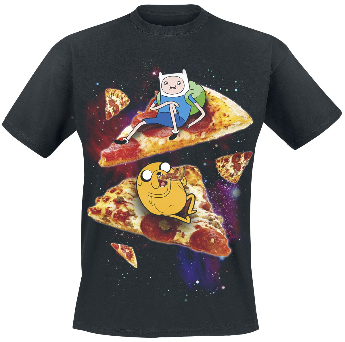 Merch dla Fanów - Koszulki - T-Shirt Adventure Time Finn & Jake Pizza T-Shirt czarny - 311374