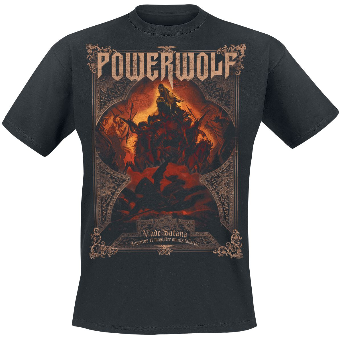 Image of   Powerwolf Vade Satana - Metal Is Religion T-Shirt sort