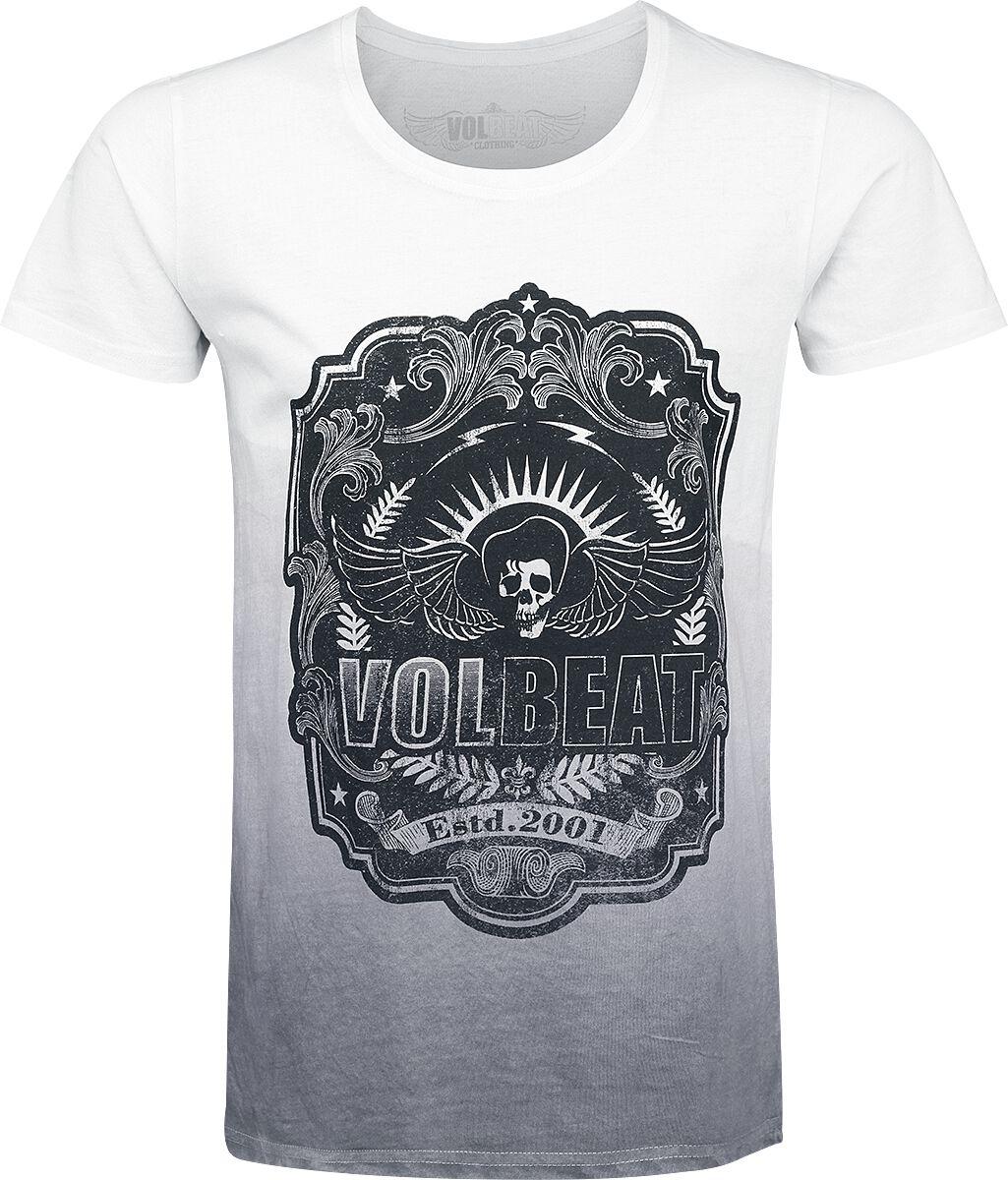 Image of   Volbeat Flourish T-Shirt hvid-grå