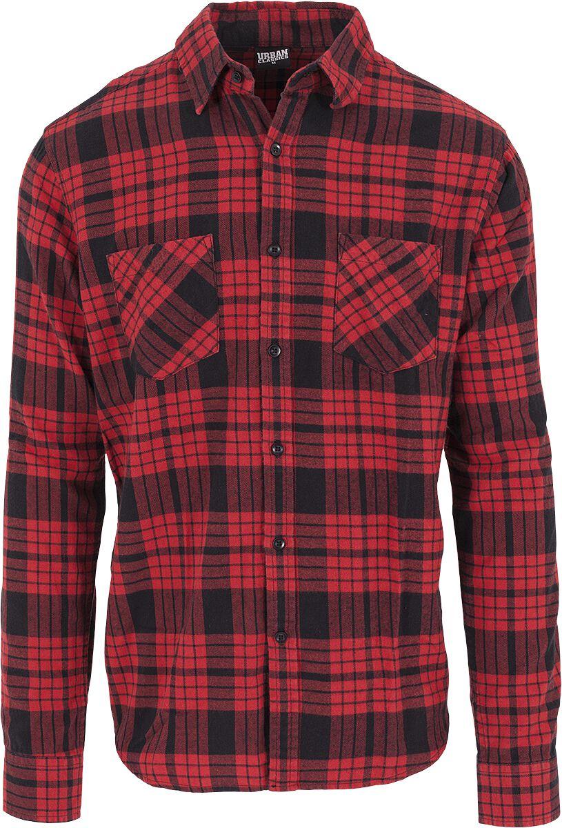 Image of   Urban Classics Checked Flannel Shirt 2 Skjorte sort-rød