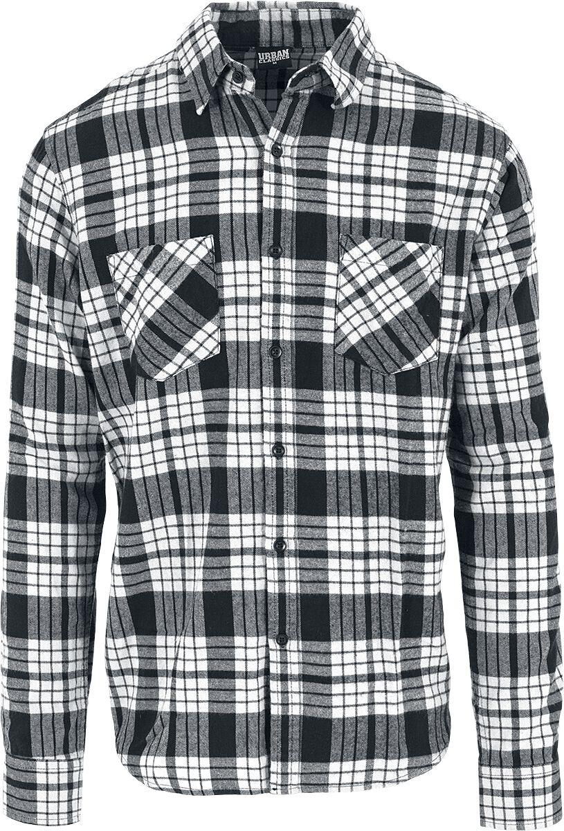 Image of   Urban Classics Checked Flannel Shirt 2 Skjorte hvid-sort